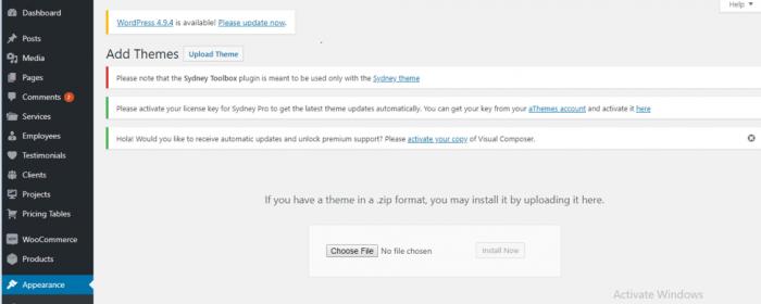 Upload Theme file