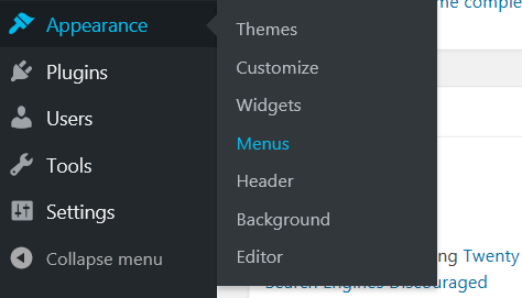 WordPress Menu Bar