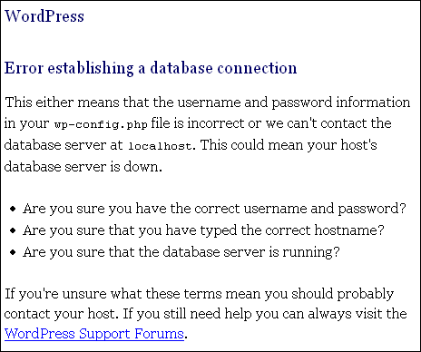 error database connection