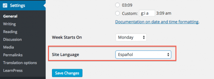 WordPress site language