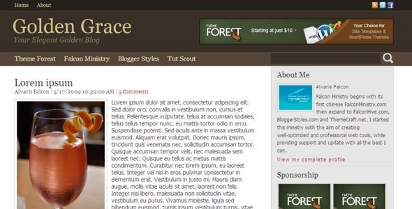 golden grace blogger template