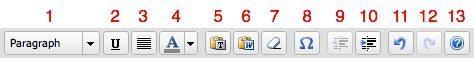 Visual edito toolbar