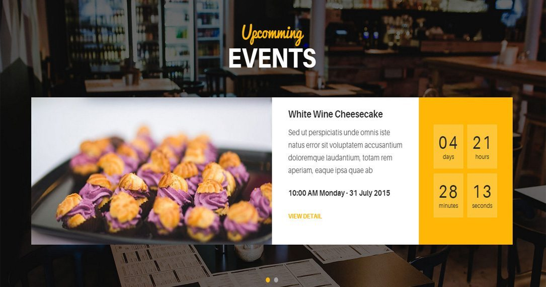 Events on Restaurant WordPress Theme