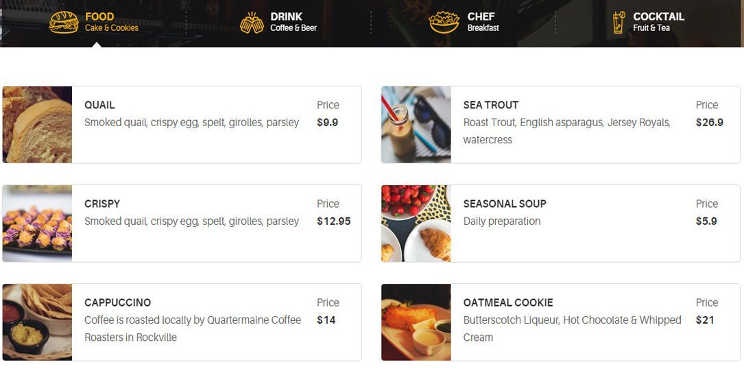 Menu for Restaurant WordPress Theme