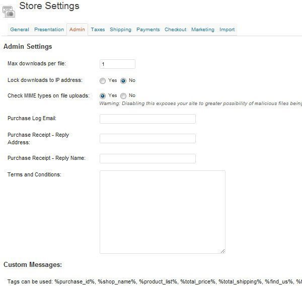 Store setting admin