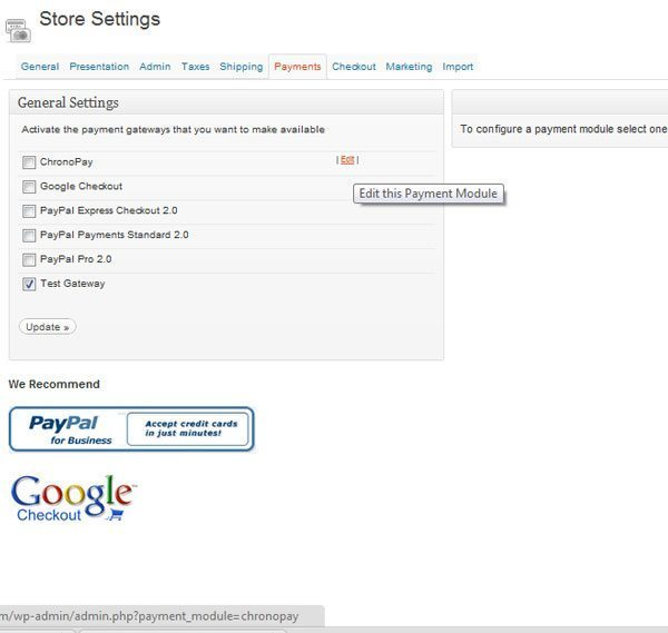Store Setting payment