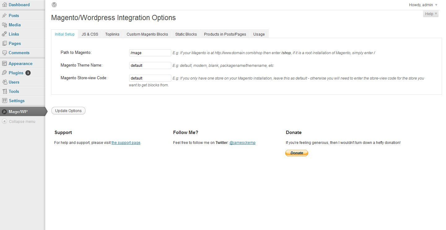 Magento WordPress Integration tab