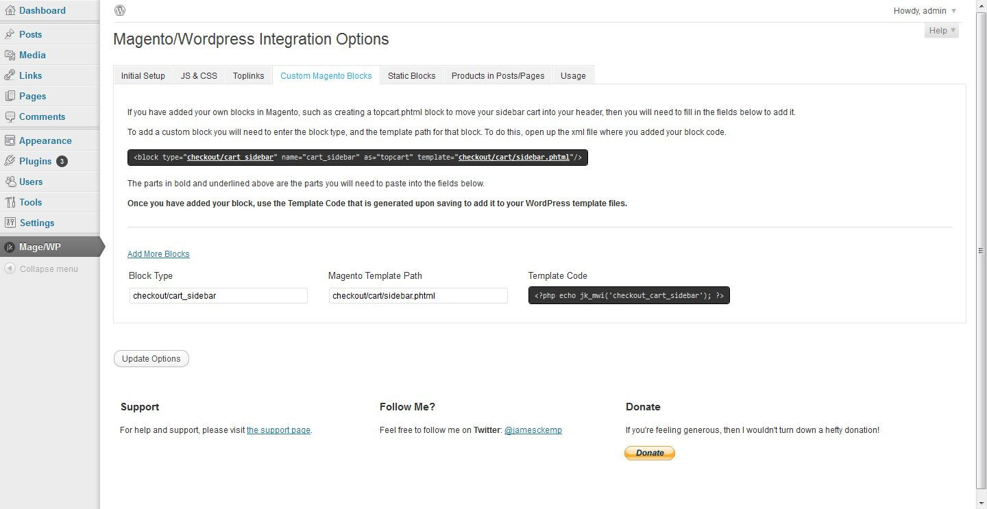 Magento WordPress Integration tab3
