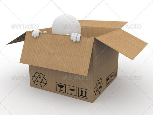 Man hiding in a cardboard box_p