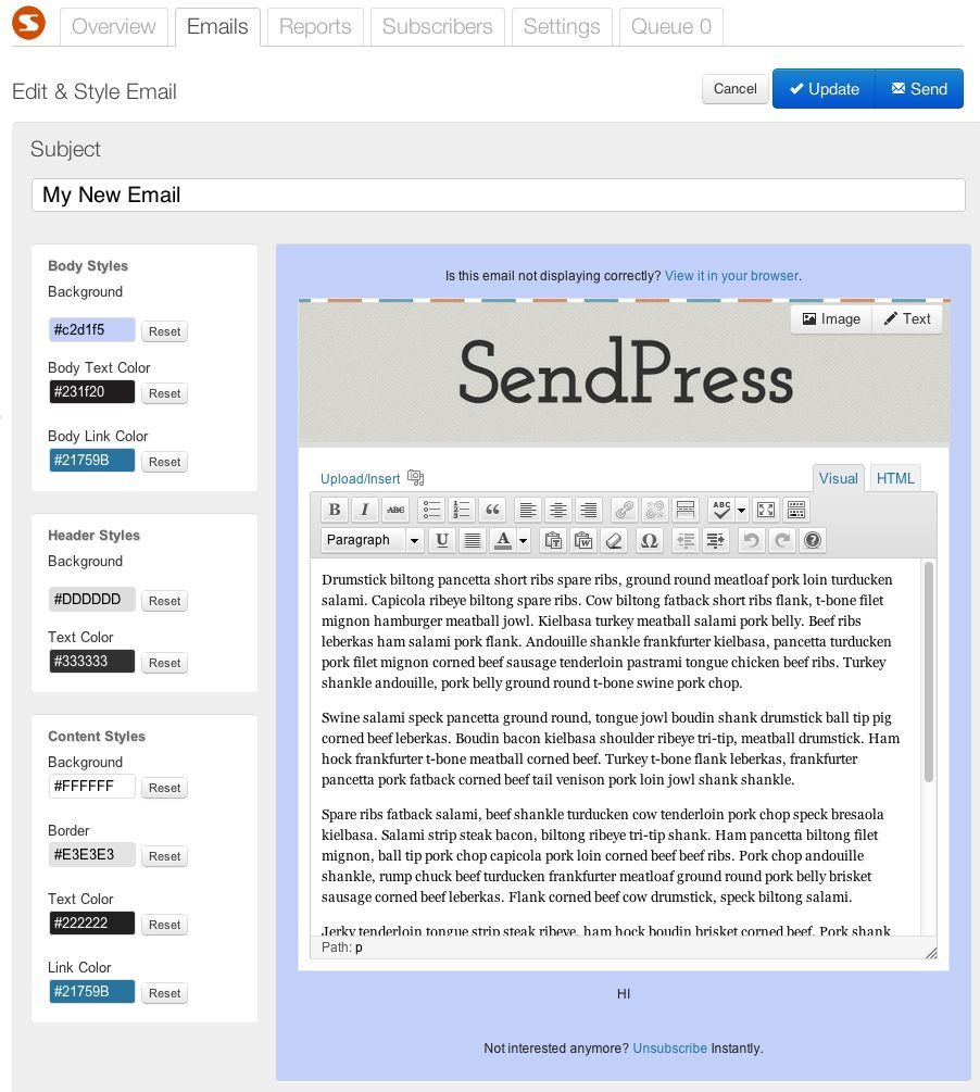 sendpress email editor