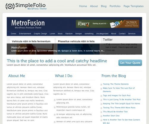 simplefolio WordPress theme