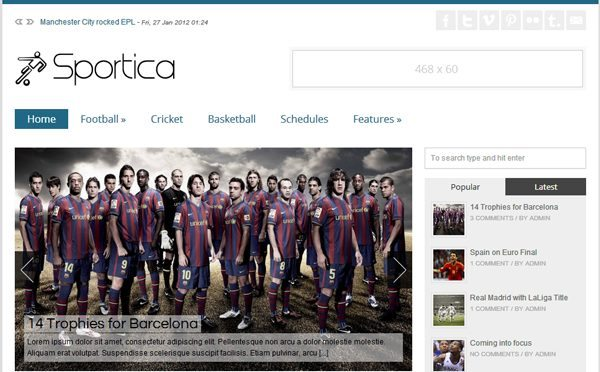 Sportica WordPress Theme