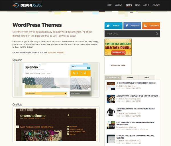 Design Disease: Free WordPress Themes