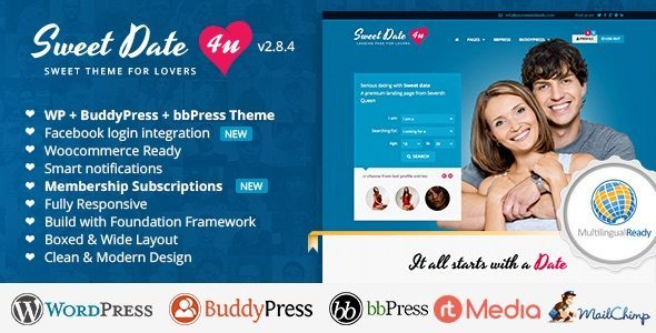 One of the best WordPress Dating Themes - Sweet Date