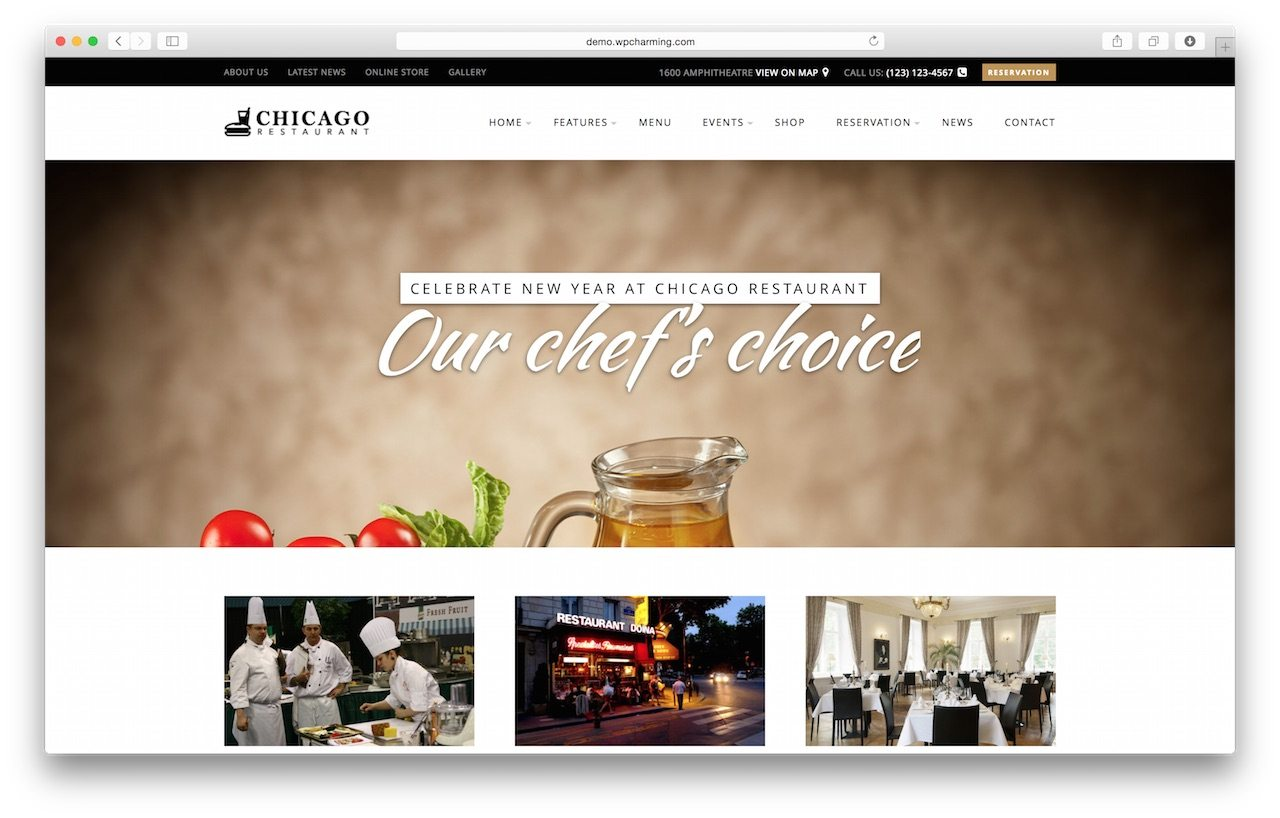 Beautiful WordPress Theme for Restaurant - Chicago