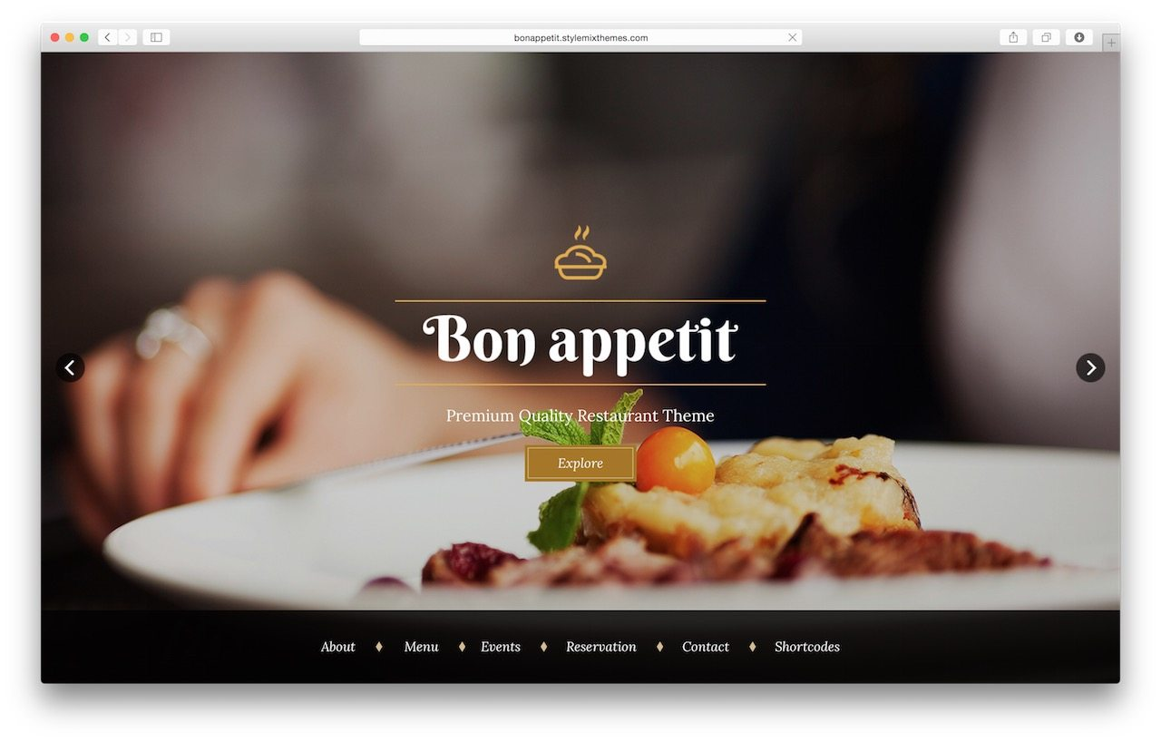 Best WordPress Restaurant Theme - Bon appetit