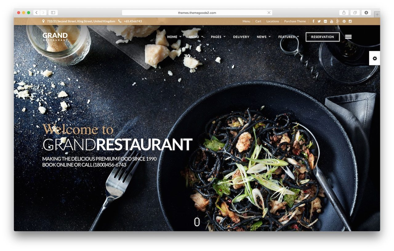 Best WordPress Restaurant Template - Grand