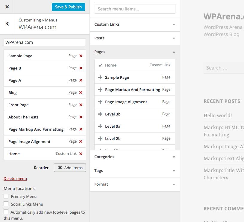 WordPress 4.3 - Create menu item in Customizer