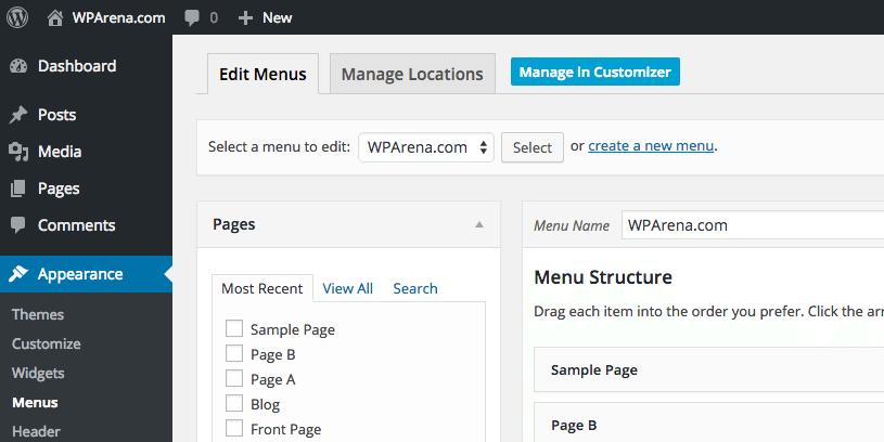WordPress 4.3 - Menu Manage in Customizer