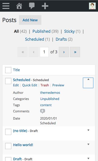 WordPress 4.3 - Mobile List View