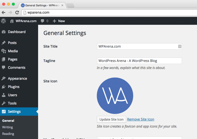 WordPress 4.3 - Site Icon