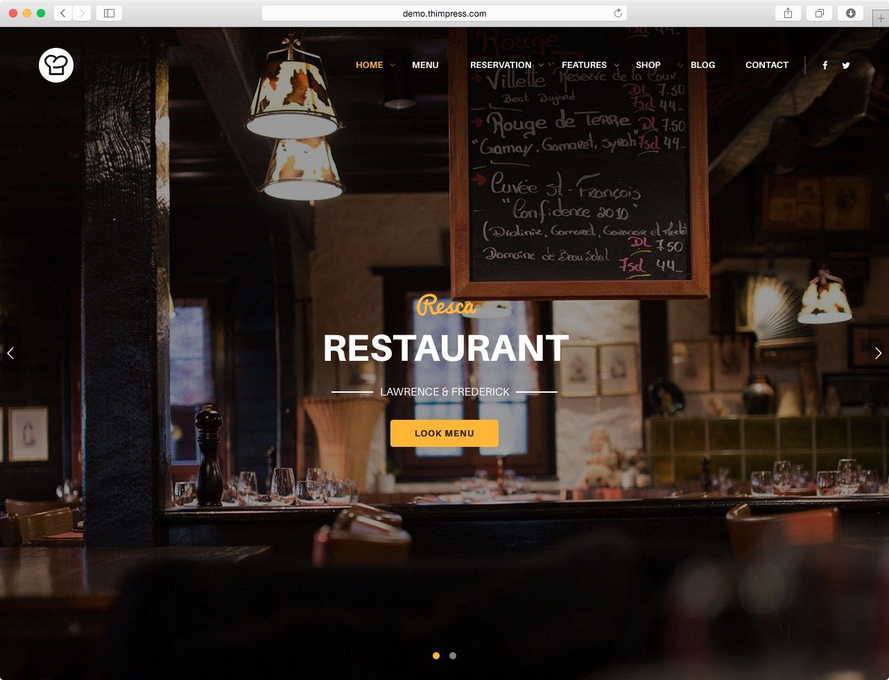 One of The Best WordPress Restaurant Themes - Resca