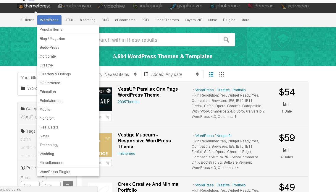 Catergories of best premium wordpress theme
