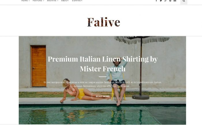 Falive - Beautiful Creative & Fashion Blog WordPress Theme