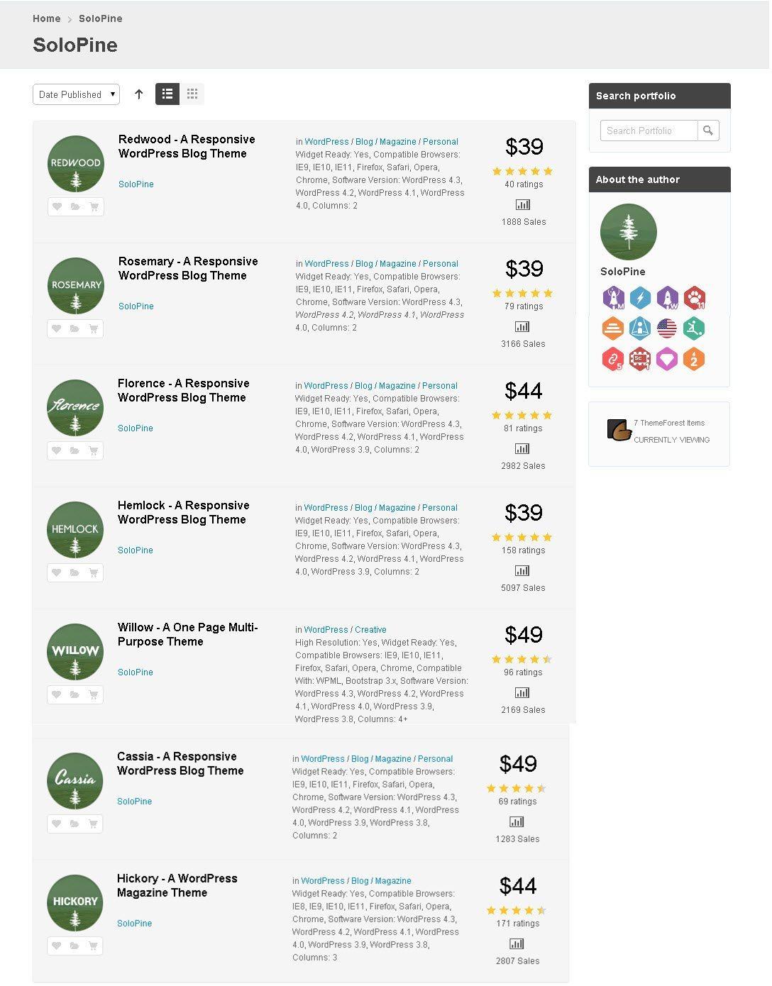 vendor's profile of best premium wordpress theme