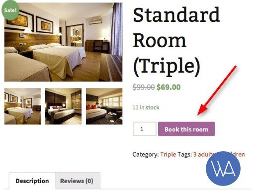 woocommerce book this room button