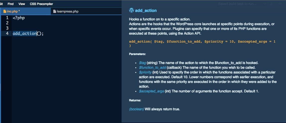 Quick codex access of WPIDE.net for WordPress Development