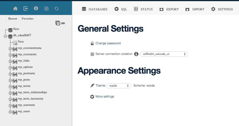 Database control of WPIDE.net for WordPress Development