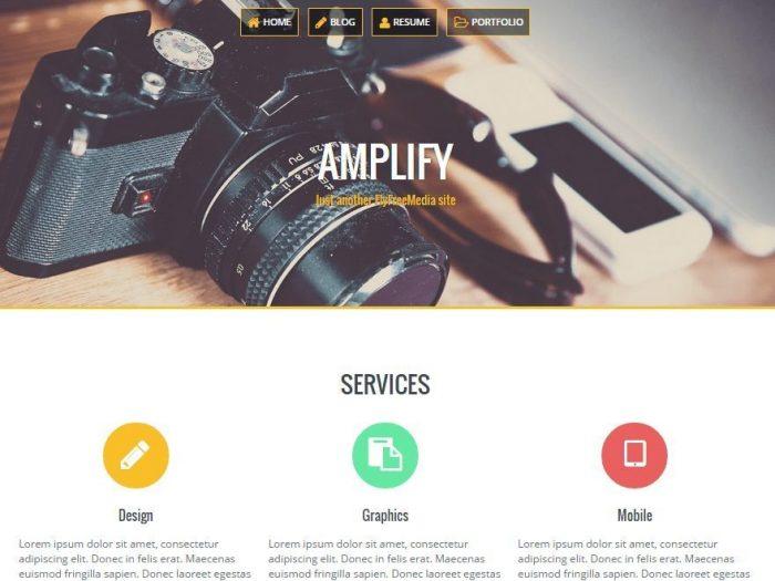 Amplify - One of Top Free Portfolio CV Resume WordPress Themes