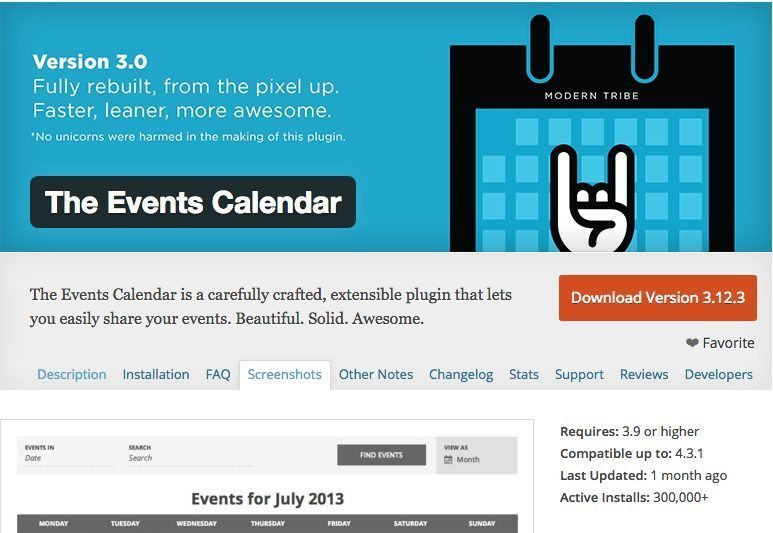 Events Calendar for WordPress restaurant website