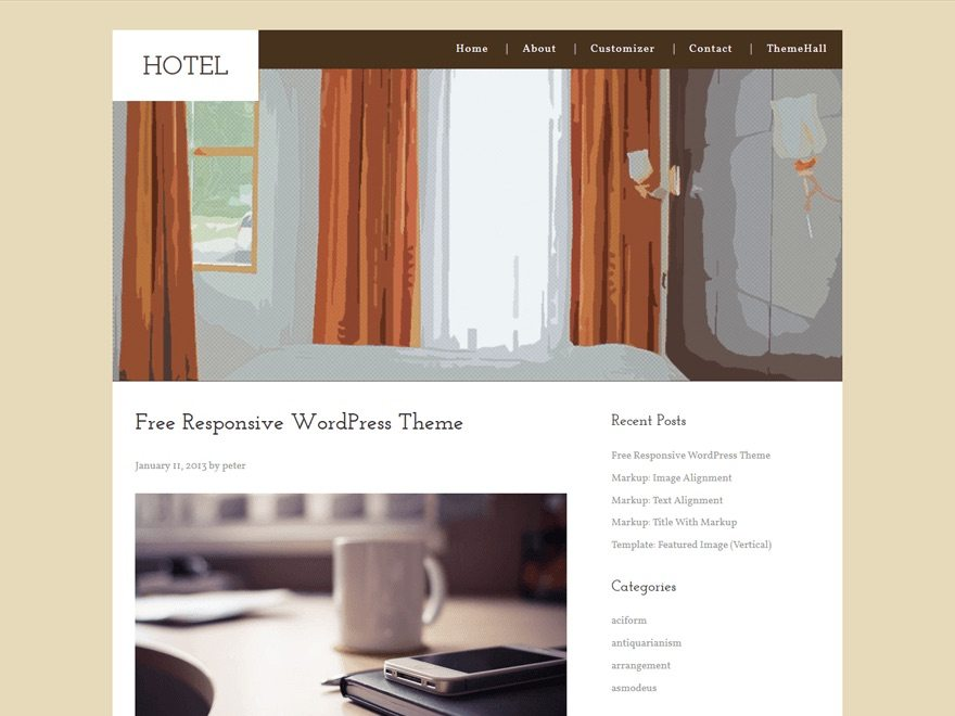 One of the best Free WordPress Hotel Themes - Hotel