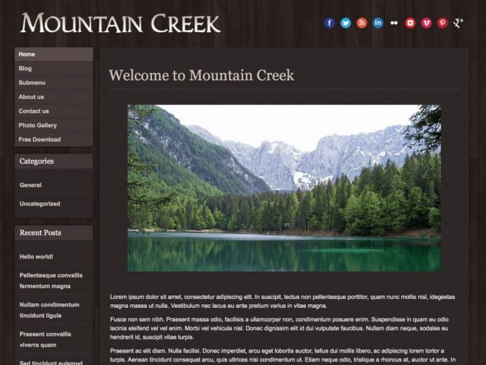 Free WordPress Theme Hotel - Mountain Creek