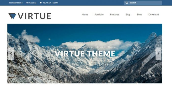 Virtue - WordPress template free for eCommerce