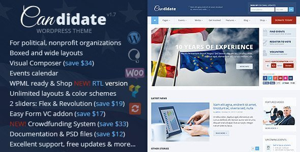 Candidate - Political/Nonprofit WordPress Theme