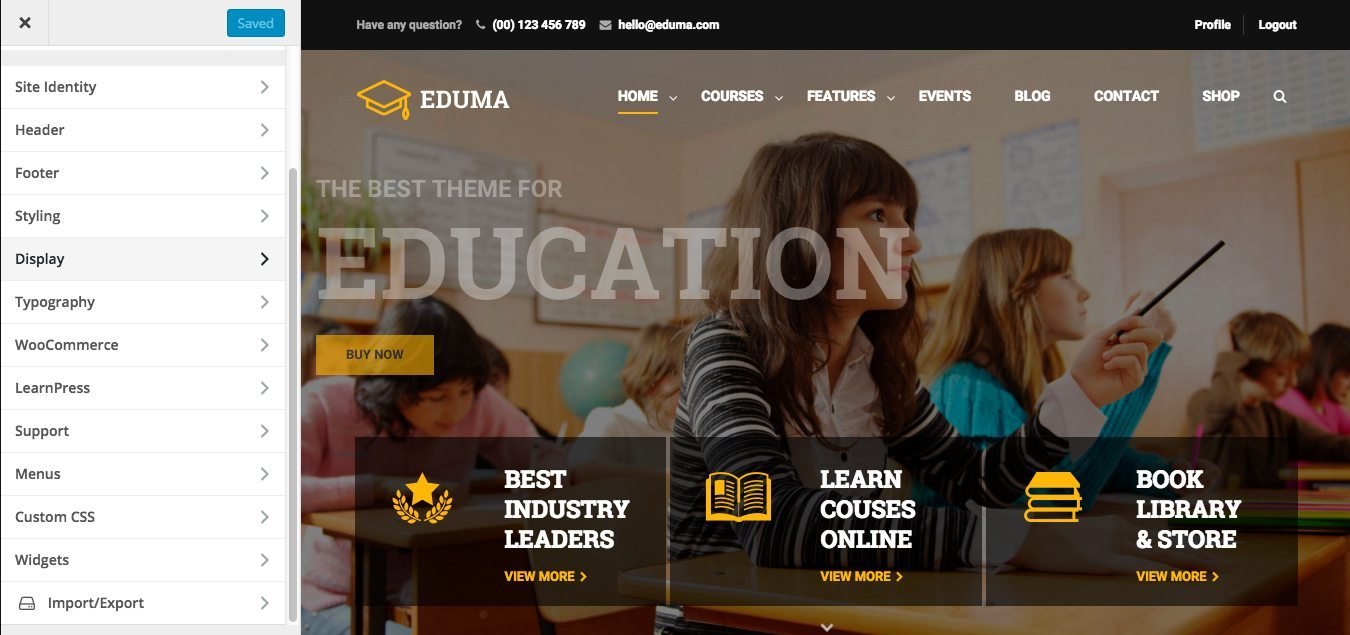 Eduma Education Theme Customize