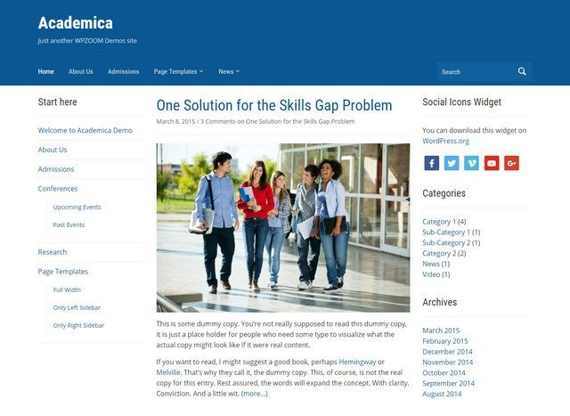 Powerful Education WordPres Theme - Academica