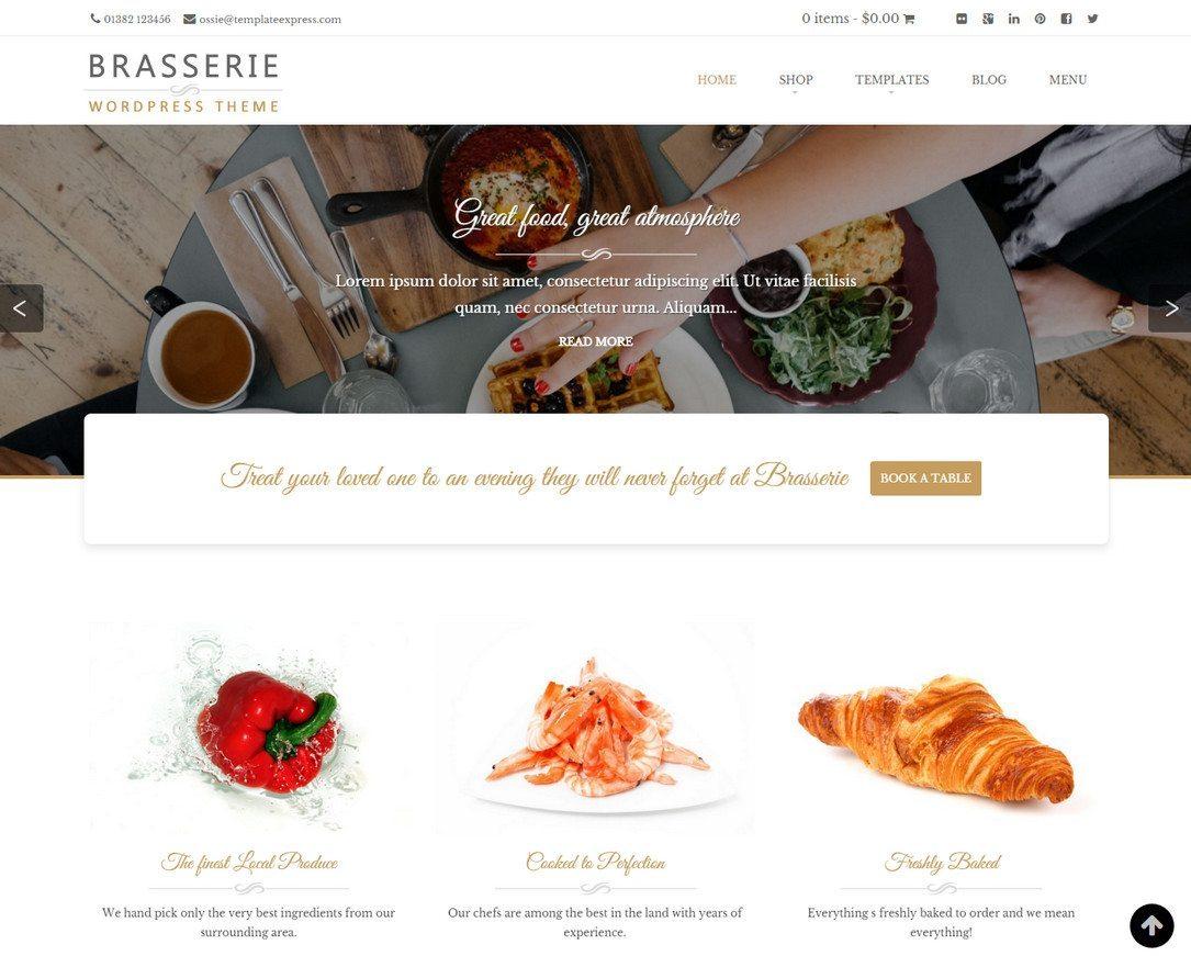 Brasserie - WordPress Restaurant Theme Free