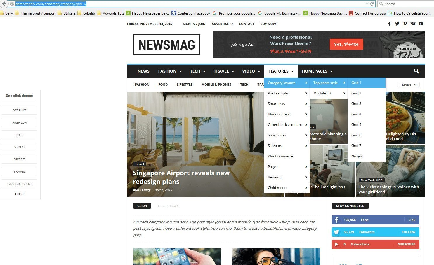grid & layout of Newsmag theme