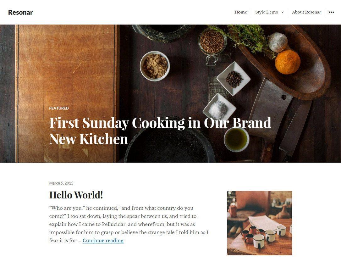 Resonar - Best Free WordPress Restaurant Theme
