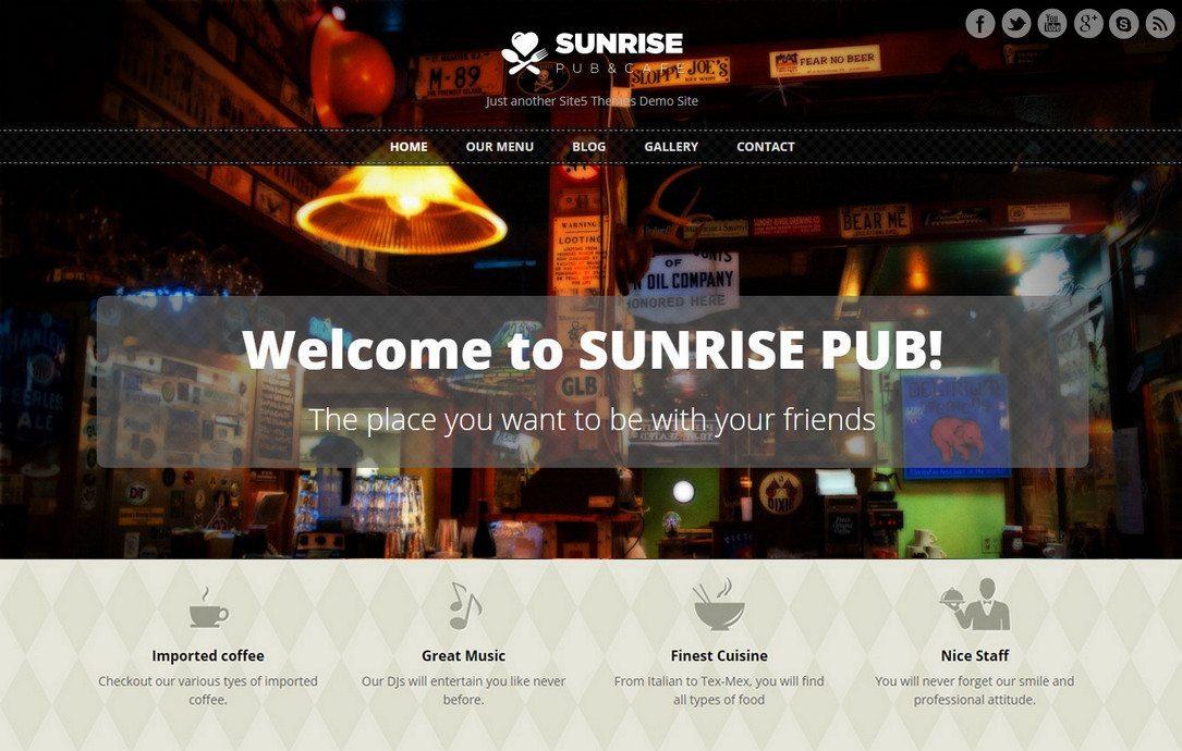 Sunrise - Beautiful Free Restaurant WordPress Theme