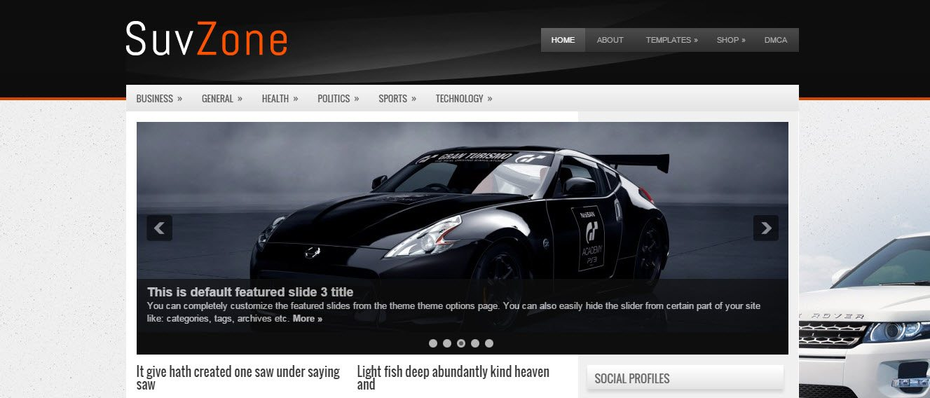 suvzone Automotive WordPress Theme Free