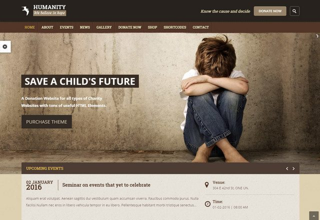 Beautiful Charity & NGO WordPress theme - Humanity