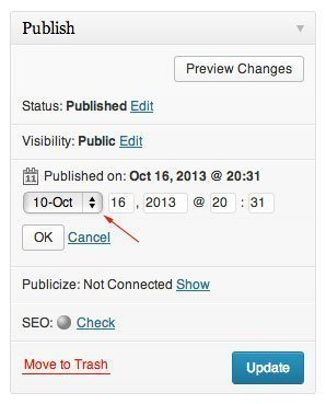 Change the date of a WordPress Post