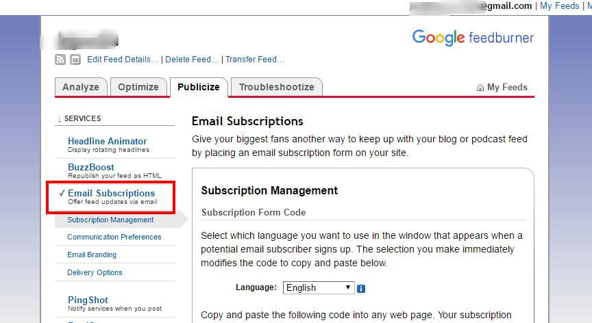 email subscription feedburner