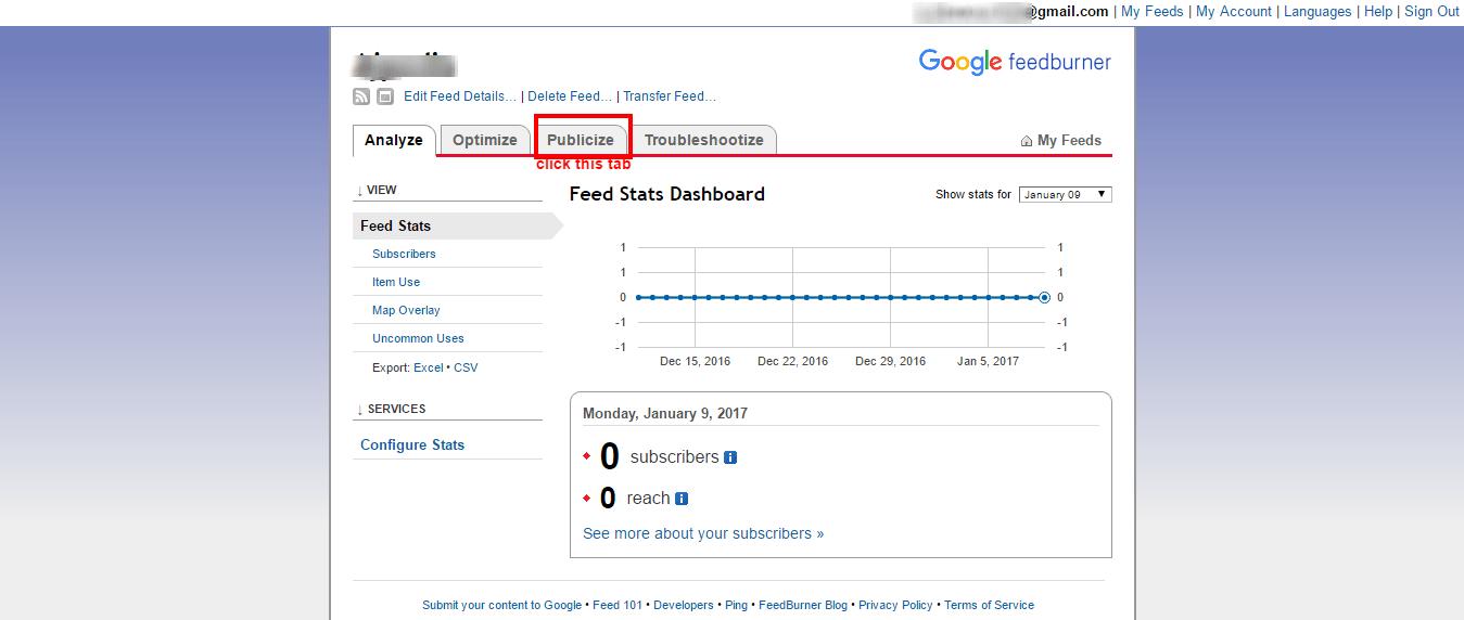 feedburner email publicize tab