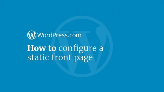 setting a static page as homepage